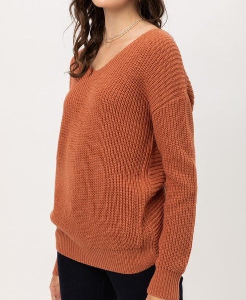Open Back Sweater (Clay)
