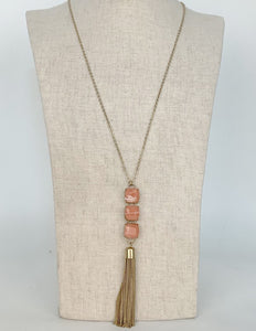 Antique Stone Necklace with Tassel