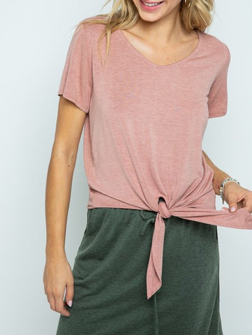 Soft V Neck Top with Front Tie (Pink)
