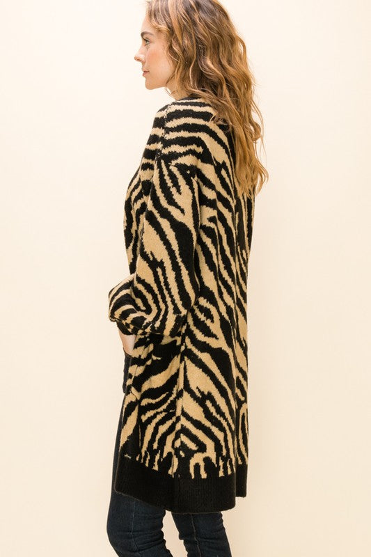 Zebra Bubble Sleeve Cardigan