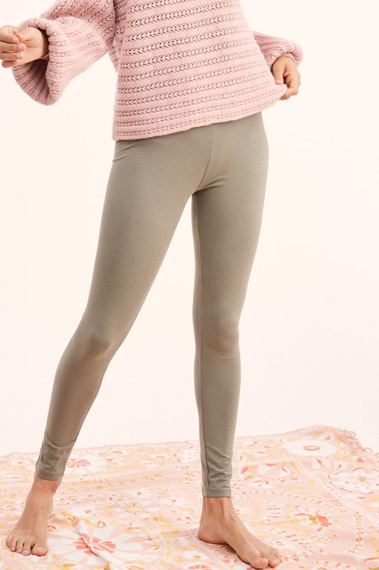 Casual High Waisted Leggings (Olive)