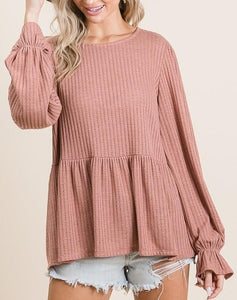 Knit Top with Ruffle Detail