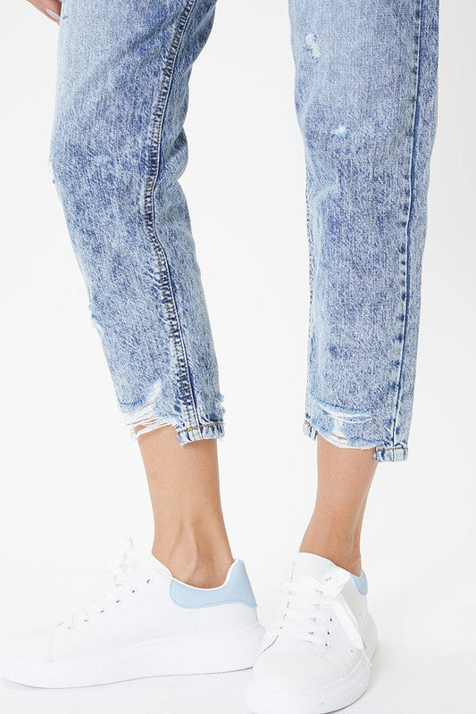High Rise Hem Detail Mom Jeans