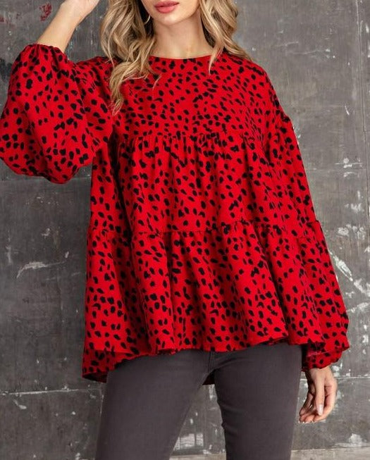 Leopard Tiered Top