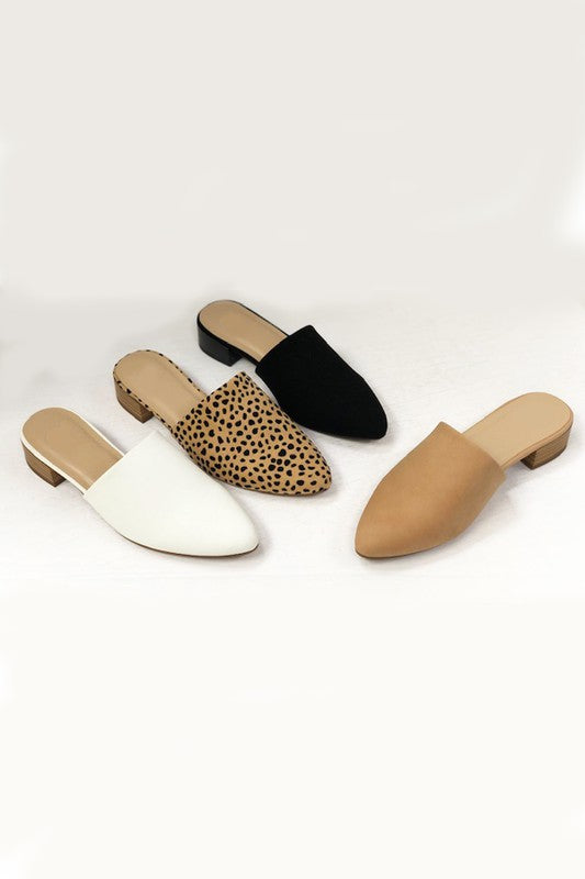 Suede Pointed Toe Slides