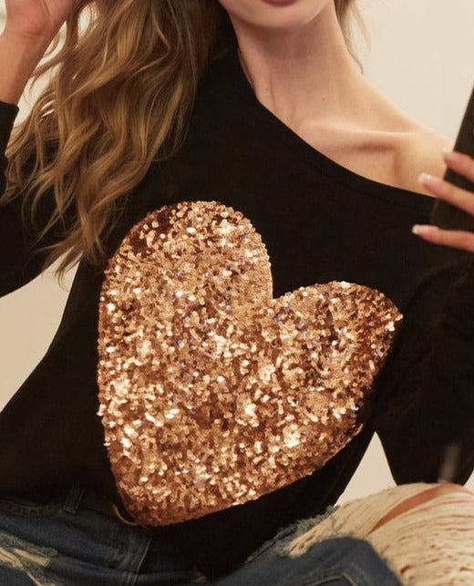 Sequin Heart Patch Top