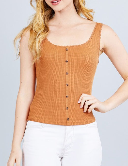 Button Down Knit Tank