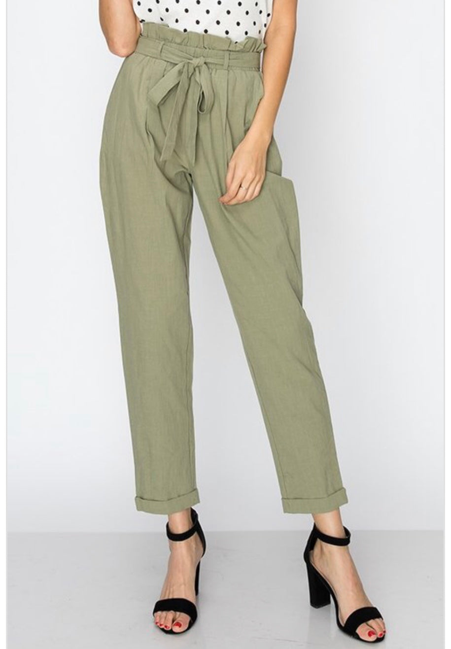 Army Green Waist Tie Pants