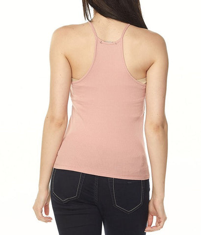 Ribbed High Neck Tank (Black)