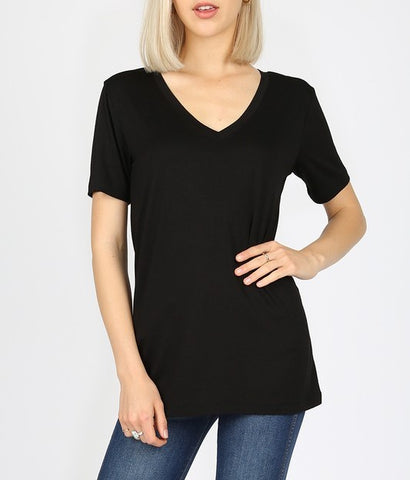 V Neck Short Sleeve Tee (Black)