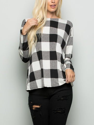 Twisted Open Back Plaid Top