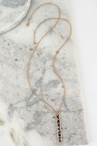 Glitter Stone Bar Pendant Necklace