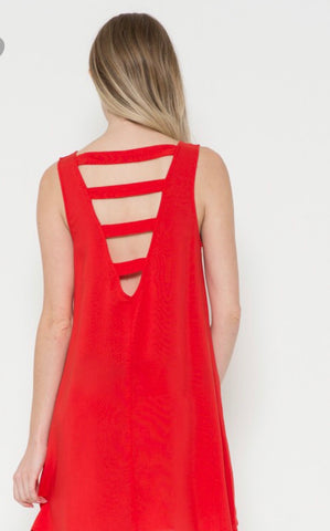 Woven Back Bar Tank Dress