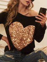 Load image into Gallery viewer, Sequin Heart Patch Top