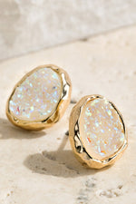 Load image into Gallery viewer, Oval Druzy Post Earrings