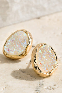 Oval Druzy Post Earrings