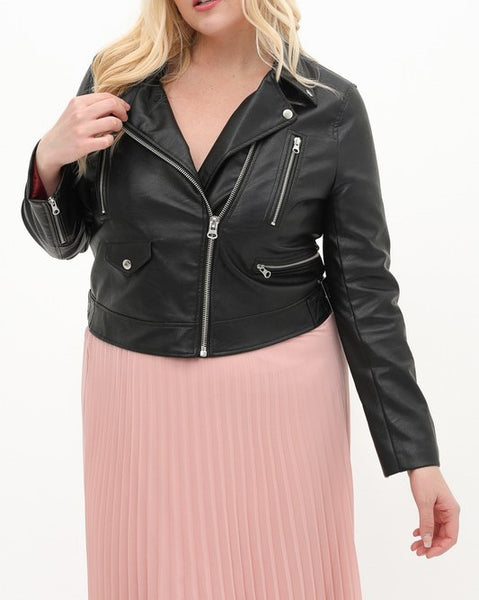 Faux Leather Biker Jacket (Black)