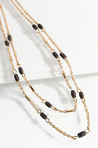 Double Layered Bead Necklace (Brown)