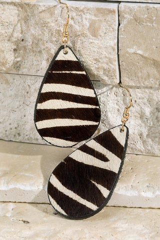 Animal Print Leather Teardrop Earrings
