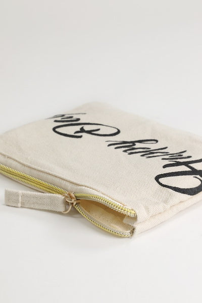 Happy Day Canvas Makeup Bag