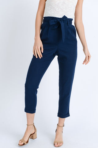 High Waist Paperbag Pants (Navy & Mustard)