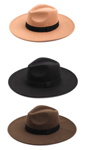 Wide Brim Fedora (Tan, Olive, Black)