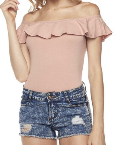 Off Shoulder Ruffled Bodysuit