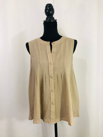 Sleeveless Button Up Blouse