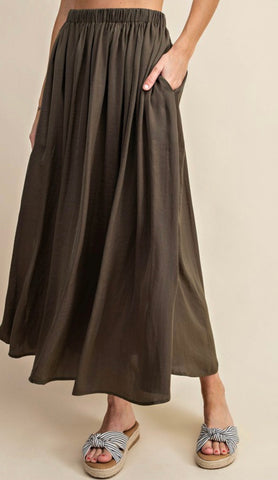 A Line Skirt with Side Slit