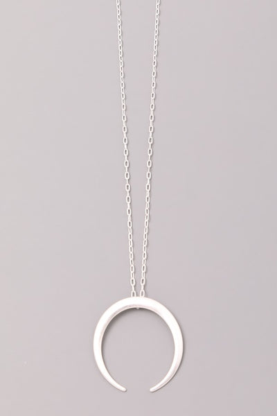 Matte Half Moon Pendant Necklace