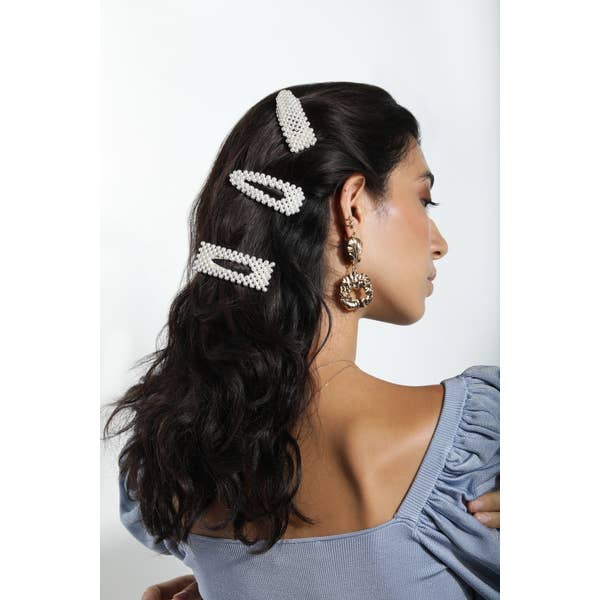 Pearl Rectangle Barrette