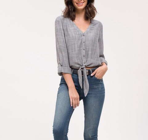 Pinstriped Tie-Hem Top