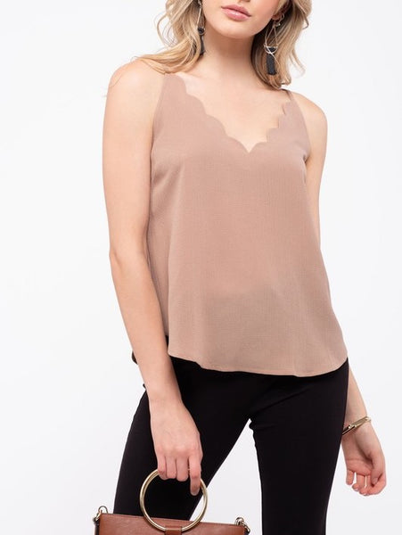 Scalloped V-Neck Cami