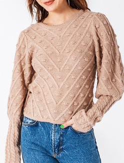 Round Neck Sweater with Threaded Detailing