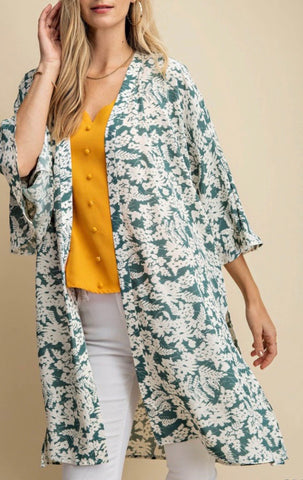 Two Tone Wide Sleeve Kimono with Slit