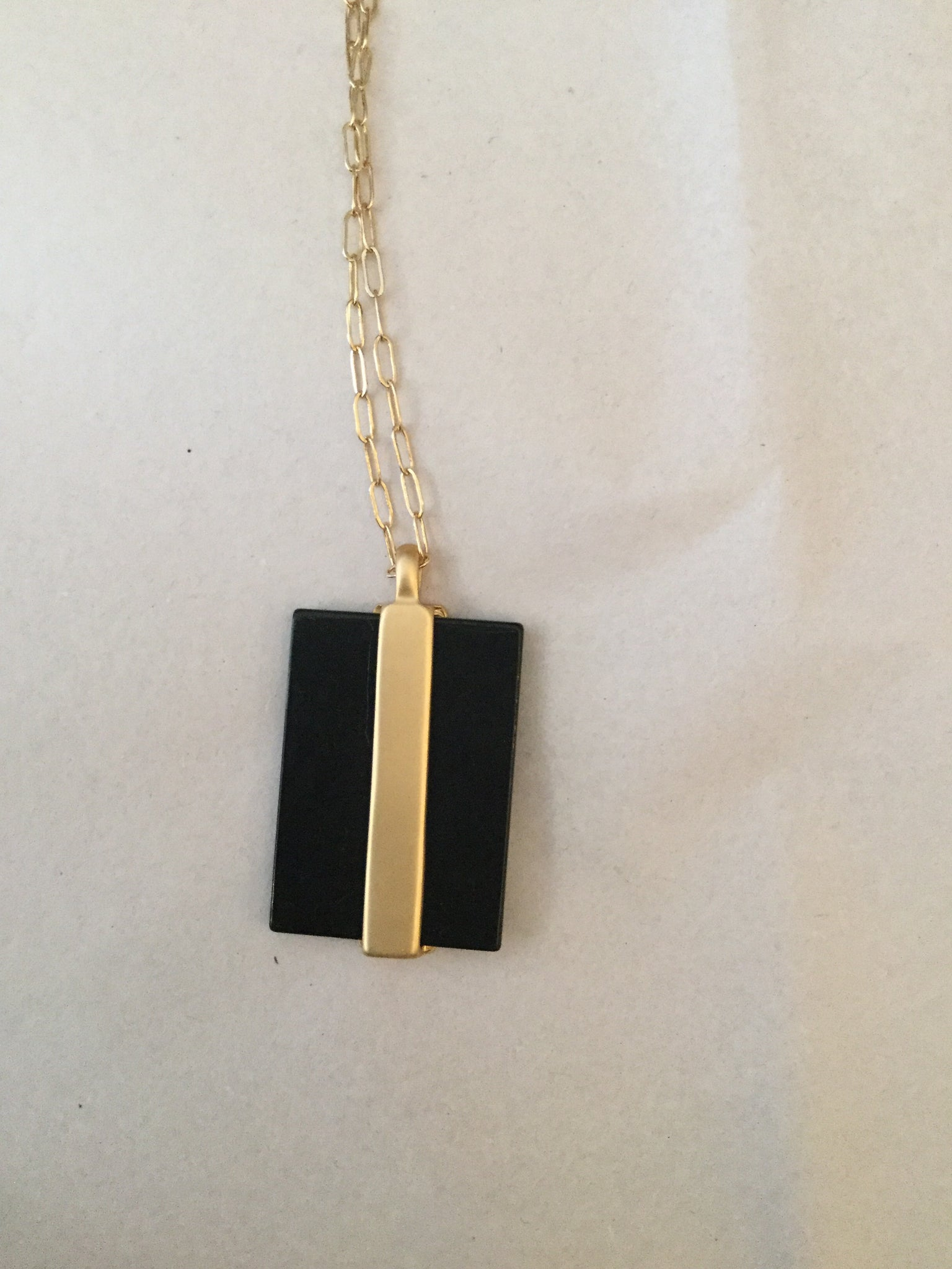 Black Natural Stone and Gold Bar Necklace