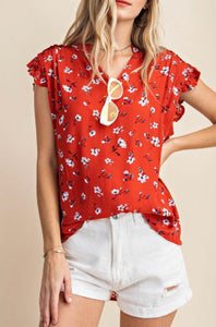 Shoulder Seam Frilled Cap Ruffle Top