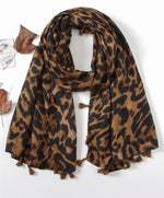 Load image into Gallery viewer, Leopard Tassel Scarf