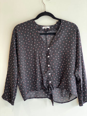 Tie Front Button-up Blouse