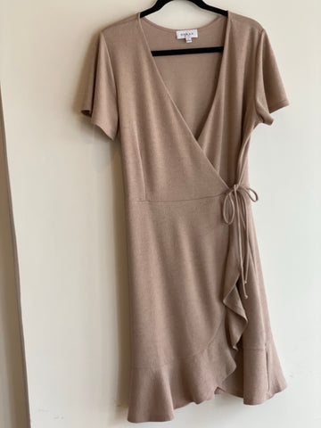 Short Sleeve Faux Wrap Ruffle Hem Dress