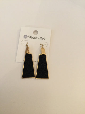 Black Leather and Gold Triangle Earrings