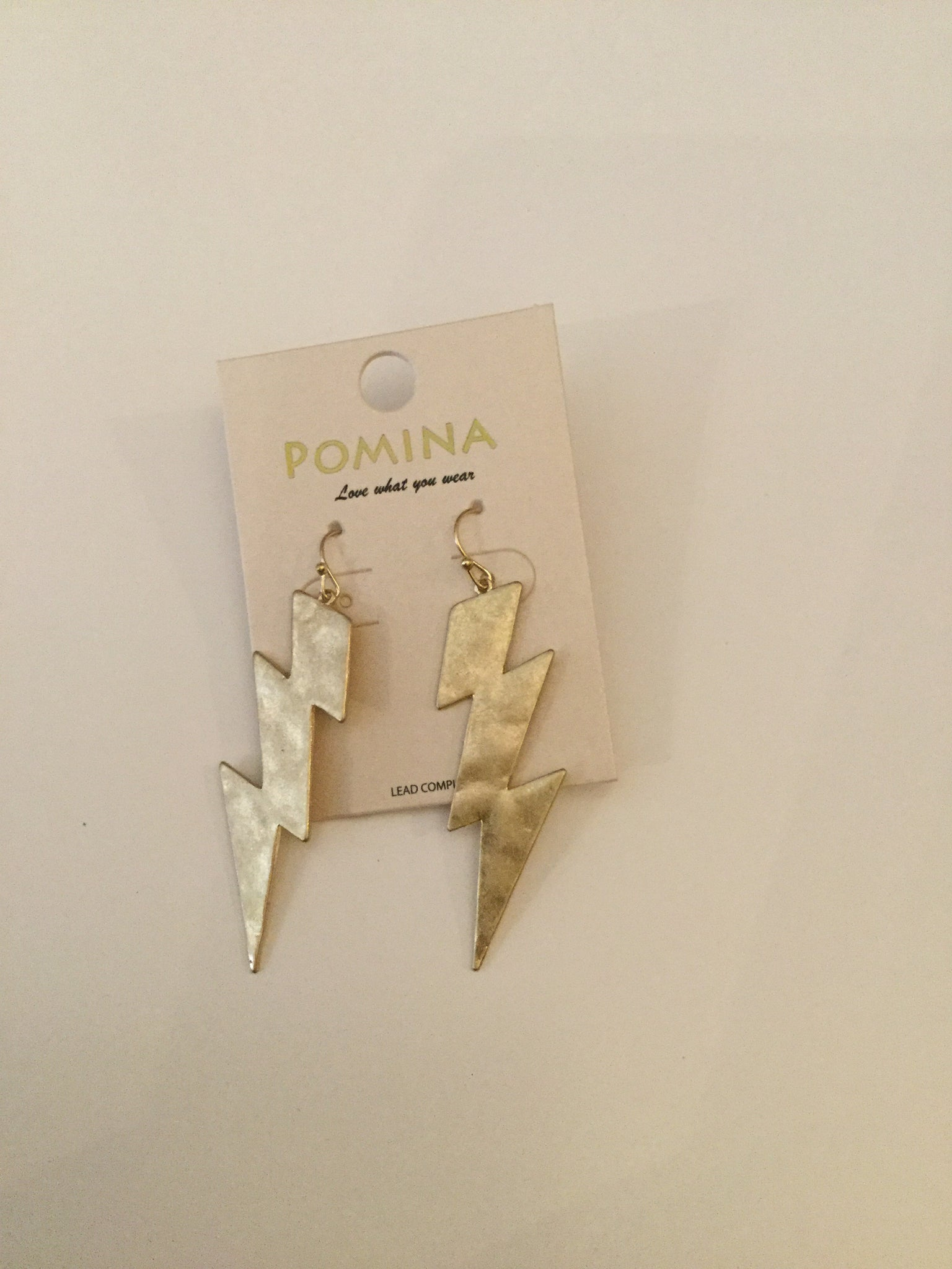 Gold Lightening Bolt Earrings