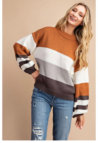 Mock Neck Pullover Color Block Sweater