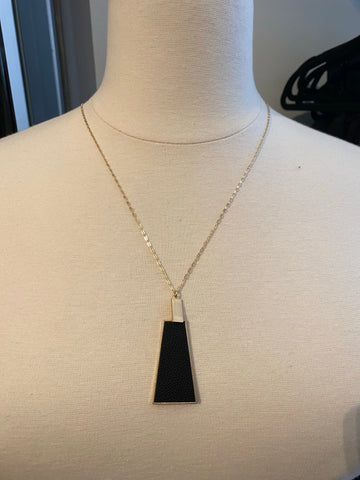 Black Leather and Gold Triangle Necklace