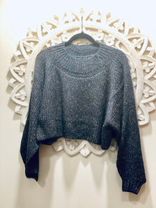 Multi Color Bubble Sleeve Crop Sweater (Navy)