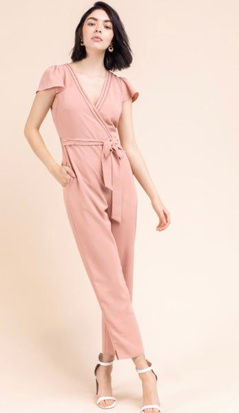 Tapered Jumpsuit with Tie Belt
