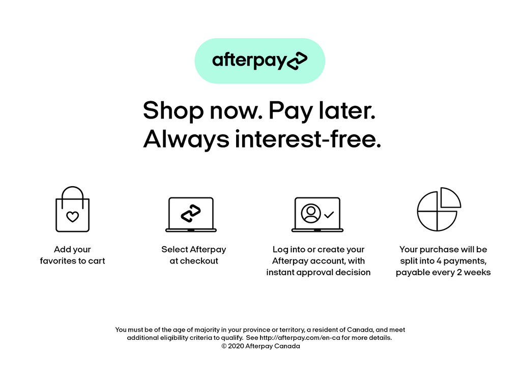 We offer Afterpay in store. Buy now, wear now, pay later.