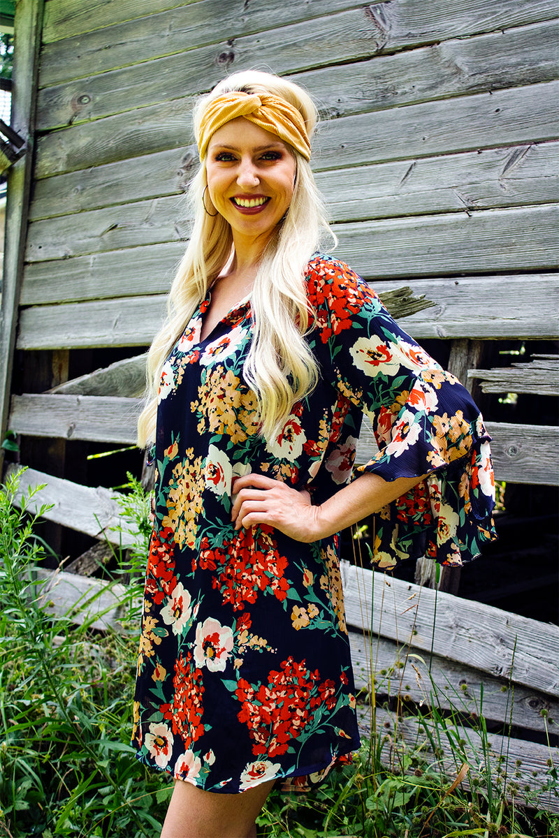 Bombshell Floral Bell Sleeve Dress