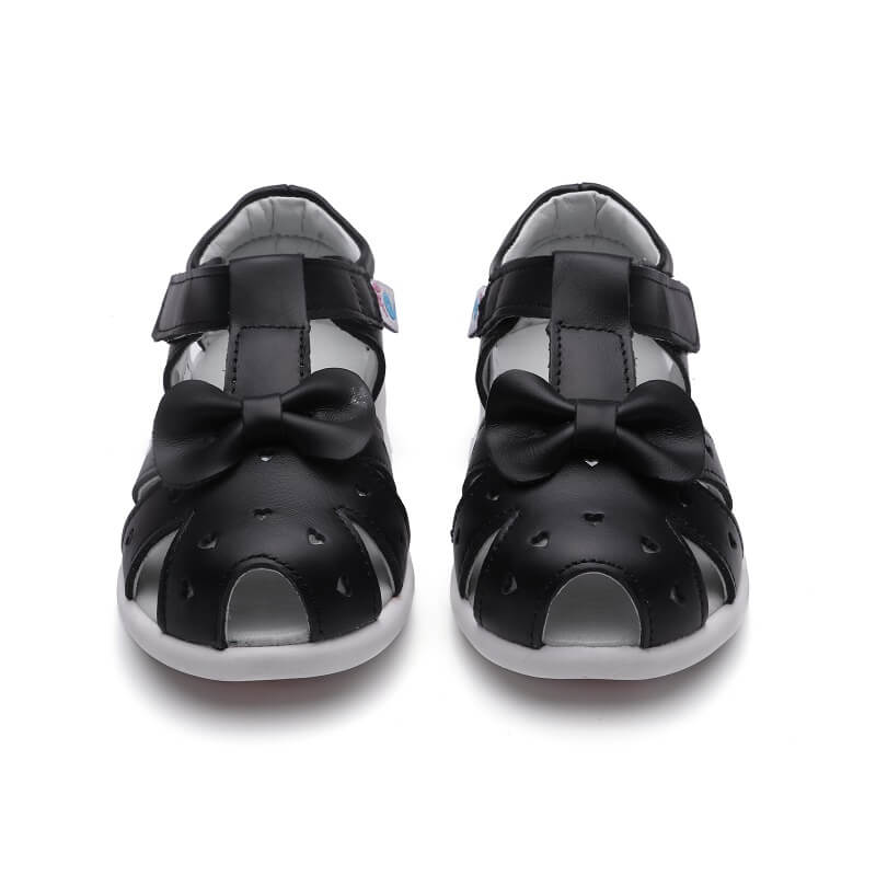 Alice black leather toddler girls sandals