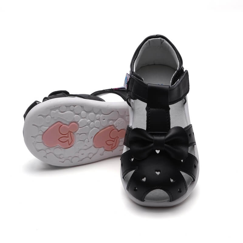 Alice toddler girls sandals black leather with bow top view
